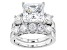 Pre-Owned White Cubic Zirconia Rhodium Over Sterling Silver Ring With Band 14.72ctw