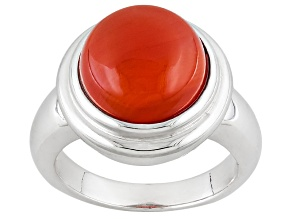 Pre-Owned Orange Carnelian Sterling Silver Ring