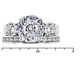 Pre-Owned White Cubic Zirconia Rhodium Over Sterling Silver Ring 9.70ctw
