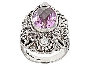 Pre-Owned Pink Kunzite Color Quartz Triplet Silver Ring