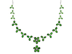 Pre-Owned Green Chrome Diopside Sterling Silver Necklace 34.01ctw
