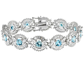 Pre-Owned Blue And White Cubic Zirconia Rhodium Over Sterling Silver Bracelet 45.07ctw