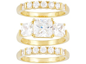 Pre-Owned Womens Engagement Ring Set 6ctw Bella Luce Princess Cz 18kt Gold Over Silver