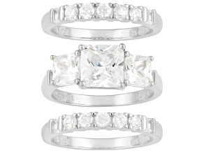 Pre-Owned Womens 3-Stone Engagement Ring Band Set 6ctw Bella Luce Princess Cz Silver