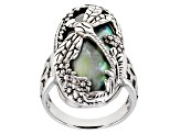 Pre-Owned Abalone Shell Sterling Silver Dragonfly Ring