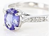 Pre-Owned Blue Tanzanite Rhodium Over Sterling Silver Ring 1.05ctw