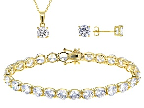 Pre-Owned Cubic Zirconia Silver Bracelet, Earrings And Pendant With Chain Set 44.80ctw