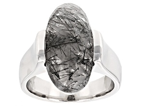 Pre-Owned Brown Tourmalinated Quartz Sterling Silver Solitaire Ring. 6.80ct
