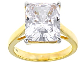 Pre-Owned White Cubic Zirconia 18K Yellow Gold Over Silver Ring 10.70ctw