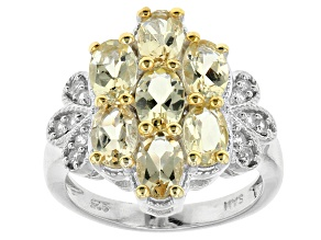 Pre-Owned Yellow Beryl And White Zircon Sterling Silver Ring 2.96ctw