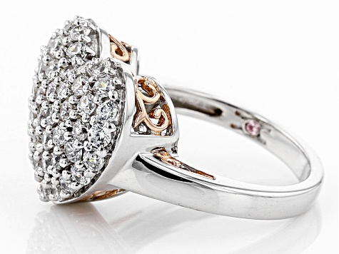 Pre-Owned Cubic Zirconia Silver And 18k Rose Gold Over Silver Heart Ring 3.05ctw (1.41ctw DEW)