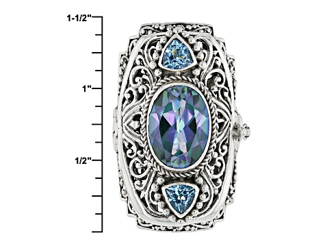 Pre-Owned Blue Blueicious™ Quartz Silver Locket Ring 5.90ctw