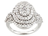 Pre-Owned Cubic Zirconia Silver Ring 3.18ctw (1.62ctw DEW)