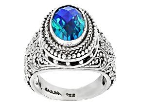 Pre-Owned Rainbow Paraiba Color Quartz Triplet Silver Ring