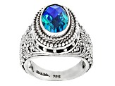 Pre-Owned Rainbow Paraiba Color Quartz Triplet Silver Ring