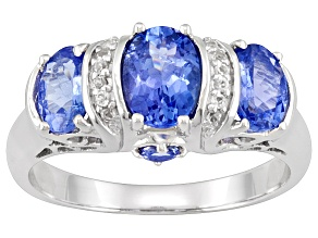Pre-Owned Womens Modern 3-Stone Ring Blue Tanzanite White Topaz Sterling Silver