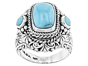 Pre-Owned Turquoise Blue Silver Ring