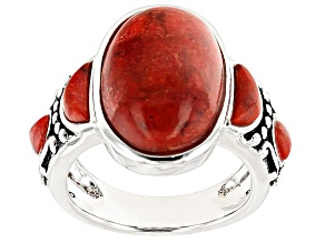 Pre-Owned Red Coral Silver Ring
