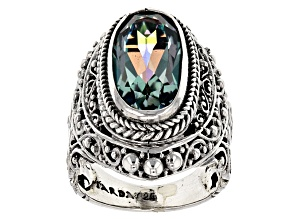 Pre-Owned Aloha Green™ Mystic Quartz® Silver Ring 5.19ctw