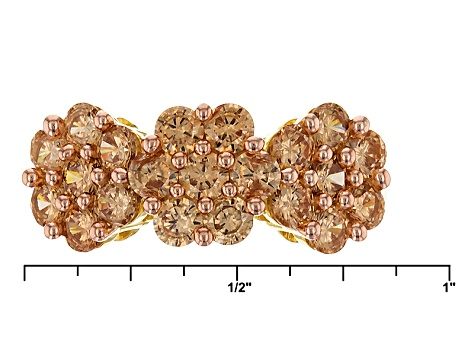 Pre-Owned Brown Cubic Zirconia 18k Yellow Gold Over Silver Ring 4.01ctw (1.77ctw DEW)