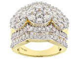 Pre-Owned white cubic zirconia 18k yellow gold over silver ring 6.65ctw