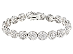 Pre-Owned Bella Luce ® 9.11ctw Round Rhodium Over Sterling Silver Bracelet