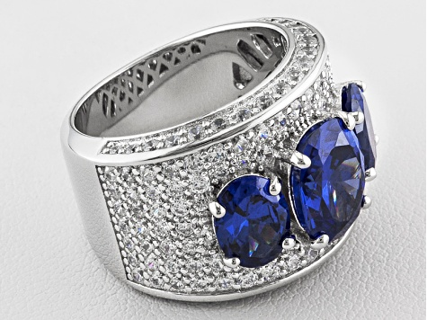 Pre-Owned Blue And White Cubic Zirconia Sterling Silver Ring 12.46ctw