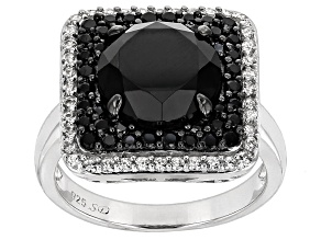 Pre-Owned Black Spinel Sterling Silver Ring 5.21ctw