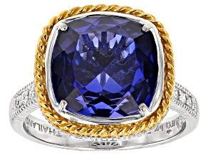 Pre-Owned lab created sapphire/white cubic zirconia rhodium & 18k yellow gold over silver ring