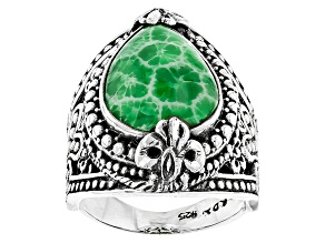 Pre-Owned Green Coral Silver Ring