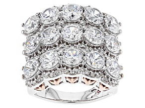 Pre-Owned Cubic Zirconia Silver And 18k Rose Gold Over Silver Ring 14.97ctw (7.73ctw DEW)