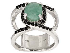 Pre-Owned Green Emerald Sterling Silver Ring 3.08ctw