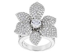 Pre-Owned White Cubic Zirconia Rhodium Over Sterling Silver Ring 4.94ctw