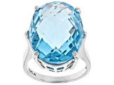 Pre-Owned Blue Topaz Sterling Silver Ring 18.00ct