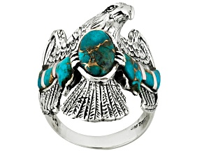 Pre-Owned Blue Turquoise Sterling Silver Eagle Gents Ring
