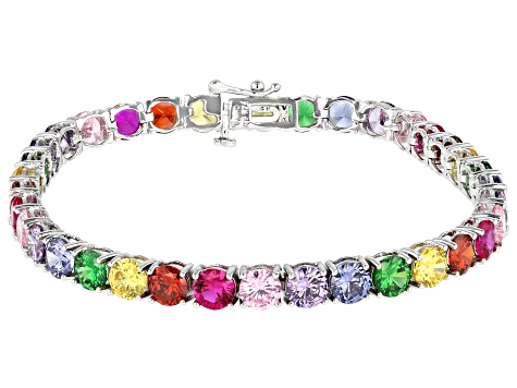 Pre-Owned Multi-Color Gemstone Simulants Sterling Silver Tennis Bracelet 24.78ctw