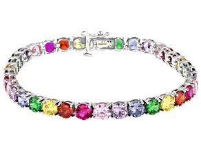 Pre-Owned Multi-Color Gemstone Simulants Rhodium Over Sterling Silver Tennis Bracelet 24.78ctw