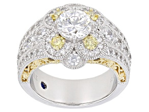 Pre-Owned Yellow And White Cubic Zirconia Platineve & 18k Yellow Gold Over Silver Ring 5.66ctw