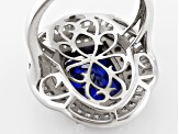 Pre-Owned Blue And White Cubic Zirconia Rhodium Over Sterling Silver Ring 8.12ctw