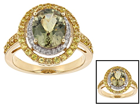 Pre-Owned Green Turkish Diaspore 14k Yellow Gold Ring 3.14ctw