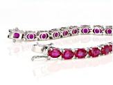 Pre-Owned Red Lab Created Ruby Sterling Silver Bracelet 28.50ctw