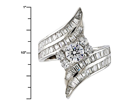 Pre-Owned White Cubic Zirconia Rhodium Over Sterling Silver Ring 5.40ctw