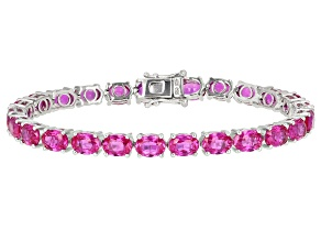 Pre-Owned Pink Lab Created Sapphire Sterling Silver Bracelet 28.50ctw