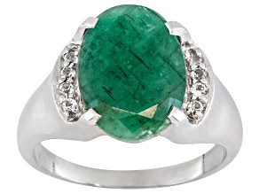 Pre-Owned 5.75ct Oval Sakota Emerald With .16ctw Round White Topaz Sterling Silver Ring