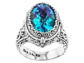 Pre-Owned Rainbow Paraiba Blue Quartz Triplet Silver Ring