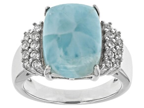 Pre-Owned Blue Larimar Sterling Silver Ring .52ctw