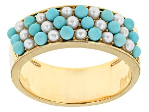 Pre-Owned Turquoise And Cultured Freshwater Pearl 18k Yellow Gold Over Brass Ring