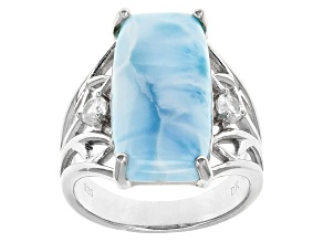 Pre-Owned Blue Larimar Sterling Silver Ring .14ctw