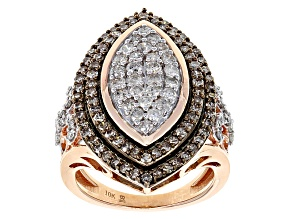Pre-Owned Champagne And White Diamond 10k Rose Gold Ring 1.50ctw