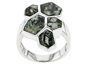 Pre-Owned Green C\Connemara Marble Sterling Silver Ring